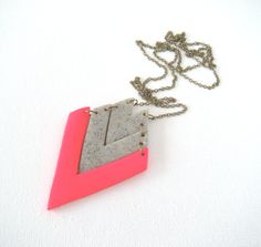 Geometric Neon Pink and Gray Tribal Arrow, Polymer Clay Necklace