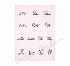 yoga instruction diagram exercise  by ShopMissElla, £14.00