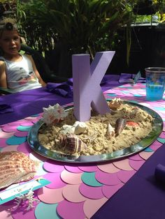 *Party Accessories* Purple Mermaid Birthday Decorations. Table runner and centerpieces