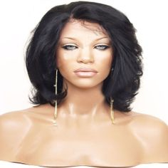 12inch  100% remy human hair lace front wig 1b  wave
