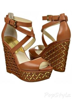 Shop Women's MICHAEL Michael Kors Tan Gold size Wedges at a discounted price at Poshmark. Description: Sexy comfortable wedges no box worn once. Wedge Sandals, Wedge Shoes, Shoes Heels, Dream Shoes, Crazy Shoes, Cute Shoes, Me Too Shoes, Luggage Sizes, Peep Toe