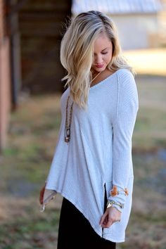 Free People ~ We the Free Sunset Park Thermal (Oatmeal Heather)