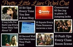 TV Show work outs. this is hilarious and absolutely perfect for me