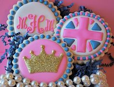 Sparkly Princess Crown Decorated Sugar Cookies by sweetgoosiegirl, $39.00