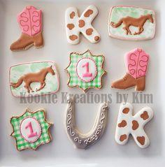 Cowgirl first birthday cookies - Kookie Kreations by Kim