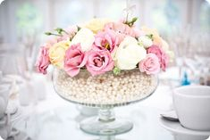 Pearl centerpiece.  bridesupnorth.com