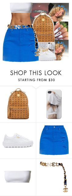 """""""Blue hearts above my head """" by chrissyjayy ❤ liked on Polyvore featuring MCM, Puma, Balmain, Chanel and Forever 21"""