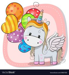 Illustration about Greeting card Cute Cartoon Unicorn with balloon. Illustration of illustrations, computer, baptism - 107987010 Unicorn Drawing, Cartoon Unicorn, Unicorn Art, Unicorn Birthday Parties, Birthday Cards, Unicornios Wallpaper, Unicorn Balloon, Birthday Wallpaper, Unicorn Pictures