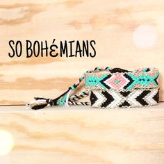 Handwoven Friendship Bracelet Aztec . Black / White / Gold by sobohemians on Etsy