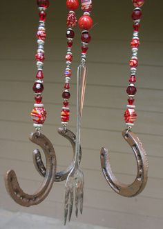 Fun wind chime. Could also hang them separately from different tree branches