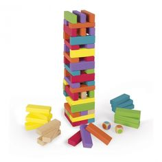 Janod infant and early childhood wooden toys help babies to develop their senses and motor skills through the use of bright colours and varied shapes. Wooden Dice, Wooden Blocks, Wooden Toys, Jenga, Tower Falling, Kicker, Wood Games, Traditional Toys, Selection Boxes
