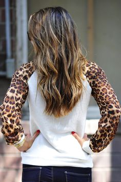 Cheetah print sweater sleeves?! :D