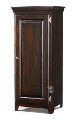 Solid Pine 1 Door Cabinet with Doors in Rustic Brown