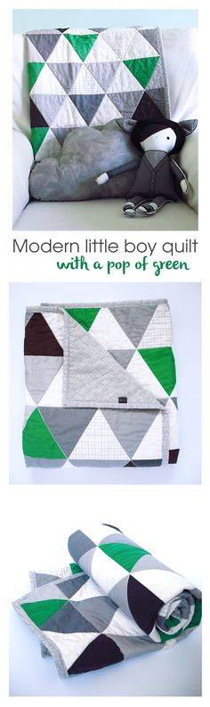 Modern boy handmade triangle quilt with kelly green