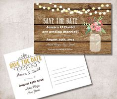 rustic wedding save the date postcard mason jar save the date postcard in size options - Free Save The Date Postcard Templates