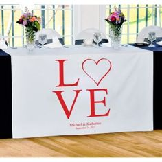This Love Table Runner is the perfect decoration for the bride and groom's table at your wedding reception. With added personalization and the color of your choice, this is sure to be a one-of-a-kind piece at your wedding!  #party #decor #daisydays