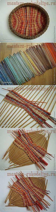 Artesanato Master - artesanato para o lar.  Oficinas gratuitas, foto e vídeo tutoriais - Workshop sobre tecelagem de jornais: Bandeja
