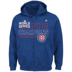 caec4cb2458 XL Chicago Cubs 2016 World Series Champions Majestic Full Zip Hoodie Royal   Majestic