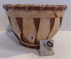 "Vintage Authentic Eskimo ""Birch Bark Kobuk River"" Basket...5"" Tall, 7"" Top Dia"