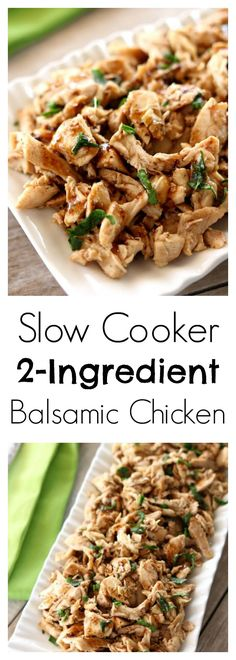 Slow Cooker Balsamic Chicken–tender, moist bites of shredded chicken flavored with a light balsamic dressing. With literally only 2 ingredients and the fact that it's made in the crockpot(Slow Cooker Rice Recipes) Shredded Chicken Recipes, Best Chicken Recipes, Crockpot Recipes, Great Recipes, Cooking Recipes, Keto Recipes, Recipe Chicken, Turkey Recipes, Rice Recipes