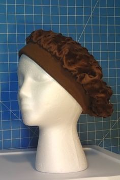 Womens Chemo Hat, Beret, Brown Soft Full Hat, Velvety top with Cotton Knit band One size fits Most Women Men Children Hair Loss Alopecia Hat by EzAdultCareProducts on Etsy