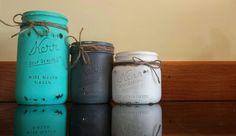 Set of Three Hand Painted and Distressed Kerr Mason Jars. #kjcreations #customorder #paintinglife #loveit #masonjars #farmhousechic #homedecor #crafts #diy #shabbychic #cuteness #handpainted Kerr Mason Jars, Upcycling Projects, Farmhouse Chic, Upcycle, Shabby Chic, Hand Painted, Crafts, Diy, Painting