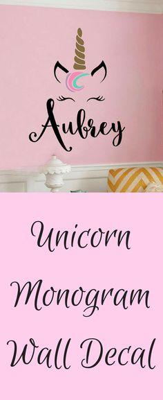 Unicorn Monogram Unicorn Themed Girls Room Unicorn Nursery Vinyl Wall Decal Wall Sticker #ad #unicorn #homedecor