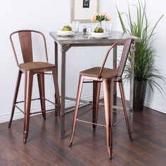 Tabouret Wood Seat Brushed Copper (Brown) Bistro Bar Stool (Set of 2) (Metal)