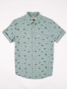Deckchair Print Short Sleeve Shirt | Bright Green | Ben Sherman