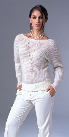 Sideways knit pullover, stunning white outfit
