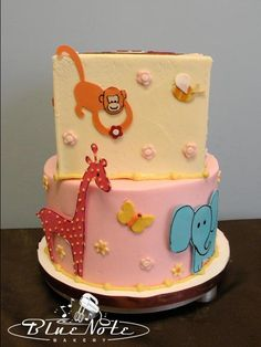 jungle baby shower cake - animal baby shower - it's a girl | Blue Note Bakery - Austin, Texas