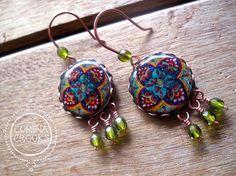 Decorative earrings, Talavera Pottery Pattern, Statement earrings, Mexican jewelry, Folk art earrings, Beach, Statement