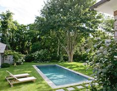 A modest pool design for the small yard [Design: Wettling Architects] Adding a small pool to your backyard shouldn't be a challenging, complex affair. Browse our gallery with small pool ideas Pools For Small Yards, Small Swimming Pools, Swimming Pools Backyard, Swimming Pool Designs, Backyard Landscaping, Landscaping Ideas, Pools Inground, Lap Pools, Backyard Patio