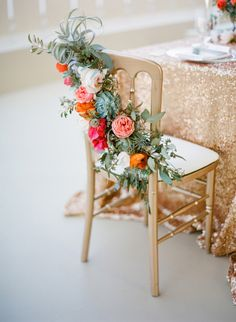 Chair decor taken to a whole new level. Photography by josevillaphoto.com, Floral Design by primary petals.com