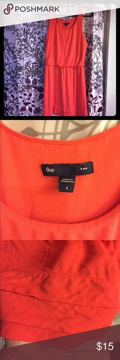 Sleeveless Orange Dress by Gap So cute and perfect for summer! Has a stretchy gathered waist and a few tiered ruffles along the bottom hem. Very gently used. No signs of wear. Gap Dresses Midi
