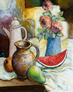 """Diego Voci™ 5 years ago on April 18, 2009 someone gave a solitary bid of only $100 which we now discovered.  """"Still Life of Fruit and Flowers"""" is our featured Diego painting for this Memorial Week.  (http://www.invaluable.com/auction-lot/voci,-antonio-diego-still-life-fruit-and-flowers-210-c-93c8784888) Who was the lucky buyer?  Where is it now? """"Still Life of Fruit and Flowers"""", oil on canvas, unframed 19 ¾"""" x 15 5/8"""", signed l.r. """"Diego"""""""