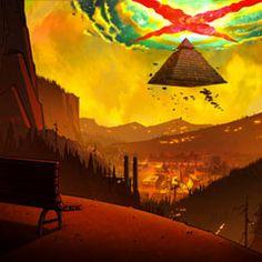 Artes dos episódios finais de Gravity Falls, por Jeffrey Thompson