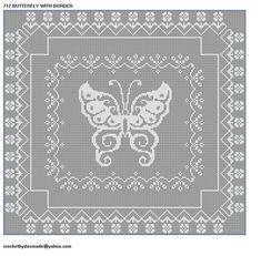 712 BUTTERFLY FILET CROCHET DOILY MAT AFGHAN PATTERN with Heart Borde | CROCHETBYDASMADE - Patterns on ArtFire