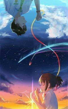 Your Name - Taki & Mitsuha 瀧 Taki 三葉 Mitsuha 君の名は。 Your Name Otaku Anime, Manga Anime, Anime Art, Kimi No Na Wa Wallpaper, Your Name Wallpaper, Your Name Anime, Graphisches Design, A Silent Voice, Anime People