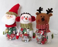 3 Christmas Candy Jars Filled with Chocolate Candy Santa