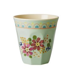 Melamine Cup Two Tone with Mint Flower Print - Rice A/S