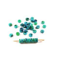 20 perles rondelle / pastille de chrysocolle naturelles teintes  +/- 6.5 x 2.5mm              lbp00037