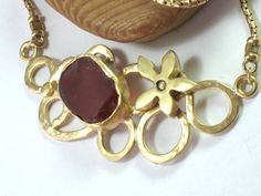 Red Glass Necklace, Gold Statement Necklace, Necklaces Gold, Gold Choker, Wedding Necklace, Evening
