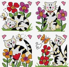 - Lesley Teare Needlework and Cross Stitch Chart Design Cross Stitch Owl, Cat Cross Stitches, Cross Stitch For Kids, Cross Stitch Cards, Simple Cross Stitch, Cross Stitching, Cross Stitch Embroidery, Modern Cross Stitch Patterns, Cat Pattern