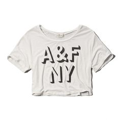 Abercrombie & Fitch Cropped Graphic Tee ($20) ❤ liked on Polyvore featuring tops, t-shirts, crop top, shirts, abercrombie, white, graphic t shirts, polyester shirt, polyester t shirts and white graphic tees