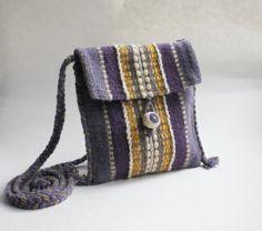 Purple Hand-woven Purse - Wool Purse - Handmade purse
