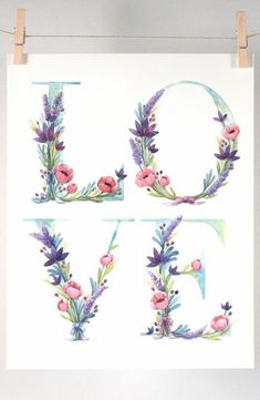 Watercolor floral love art print of watercolor illustration Nature Illustration, Watercolor Illustration, Floral Watercolor, Pattern Draping, Beach Wall Decor, Bottle Cap Images, Letter Art, Letters, Love Is Free