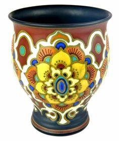 """Large Art Deco Nouveau Antique 8"""" Signed Gouda Pottery Vase- Holland NO DAMAGE"""