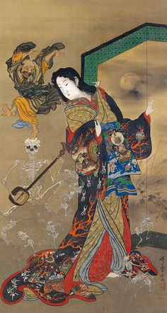Kawanabe Kyōsai.(Japanese, 1831–1889. Meiji period (1868–1912). Japan. Jigyoku Tayu - The Hell Courtesan. Anders Rikardson