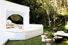 Three Birds Renovations Pavilion, Day Bed, Fire Pit Outdoor Rooms, Outdoor Living, Outdoor Decor, Zara Home, Ibiza, Three Birds Renovations, Pink Tiles, Outdoor Oven, Colored Ceiling